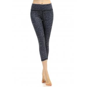 Breathable Marled Cropped Work Out Leggings - Deep Gray - Xl