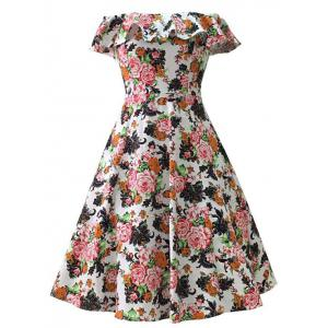 Off Shoulder Flounce 50s Midi Floral Tea Dress