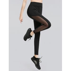 Sheer Mesh Panel Work Out Leggings - Black - M
