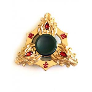 Three Dargon Heads Fake Crystal Finger Toy Fidget Spinner - Golden - 6*6cm