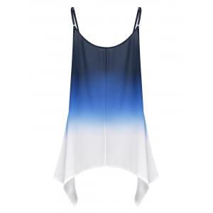 Plus Size Chiffon Handkerchief Ombre Cami Top - BLUE 2XL