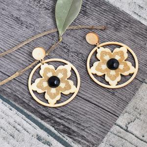 Circle Flower Wooden Earrings - Yellow