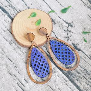 Teardrop Wooden Vintage Earrings