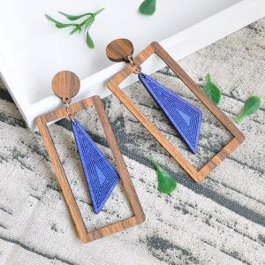 Vintage Triangle Rectangle Wooden Drop Earrings