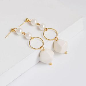 Irregularity Geometric Beads Circle Drop Earrings - White