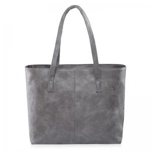Casual PU Leather Shoulder Bag - Gray - M