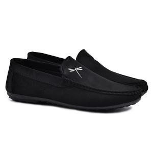Stitching Embroidery Casual Shoes - Black - 44