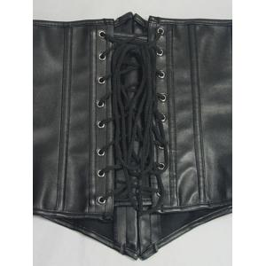 Lace-Up Faux Leather Slimming Corset -