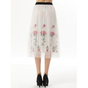 Embroidered Rose Pleated Tulle Skirt - WHITE ONE SIZE