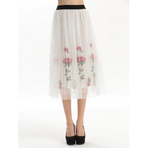 Embroidered Rose Pleated Tulle Skirt
