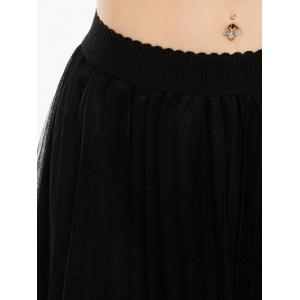 Embroidered Rose Pleated Tulle Skirt - BLACK ONE SIZE