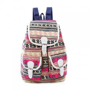 Tribal Print Buckles Canvas Backpack - Rose Red - 40