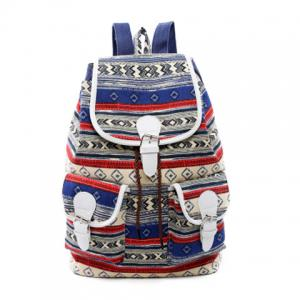 Tribal Print Buckles Canvas Backpack - Blue - 39