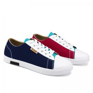 Tie Up Color Block Canvas Shoes - Blue And Red - 40