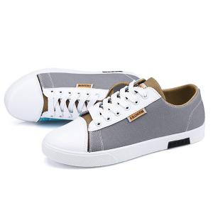 Tie Up Color Block Canvas Shoes -
