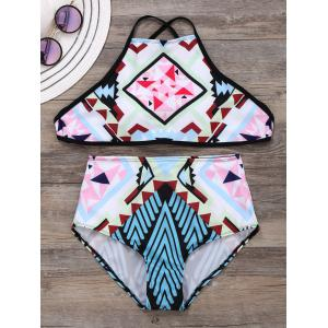 Criss Cross Geometric Print Bikini Set - Colormix - L