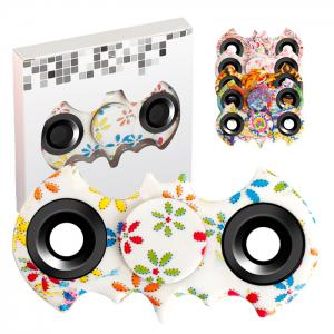 Stress Relief Fiddle Toy Bat Patterned Fidget Spinner - WHITE
