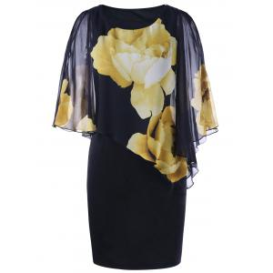 Tight Floral Slit Sleeve Capelet Dress - Black - Xl