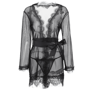 Wrap Lace Hook Sleep Robe With T-Back - BLACK M