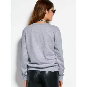 Text Graphic Pullover Sweatshirt - GRAY L