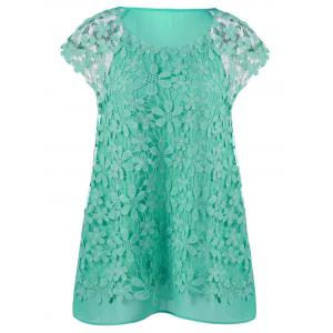 Plus Size Cutwork Lace Trim Blouse