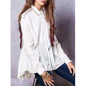 Embroidered Linen Blend Shirt - WHITE L