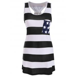 Sleeveless Racerback Bowknot American Flag Patriotic T Shirt Dress - Black - S