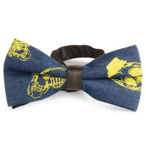 Skull Pattern Denim Layer Bow Tie - Yellow - L
