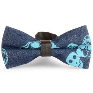 Skull Pattern Denim Layer Bow Tie - Blue - 2xl