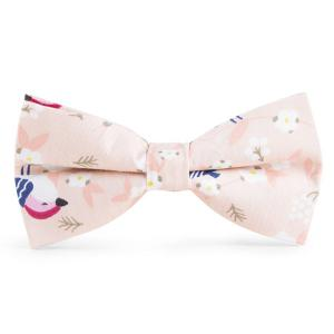 Floral Bird Printed Bow Tie - Pink - 4xl