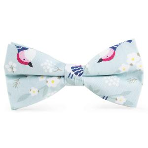 Floral Bird Printed Bow Tie - Light Blue - 2xl