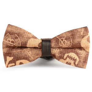 Nostalgic Skull Printing Denim Layered Bow Tie - Ginger - L