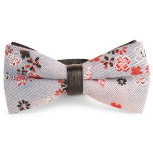 Layered Tiny Floral Printing Denim Bow Tie - Pinkish Blue - 2xl