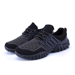 Breathable Color Block Athletic Shoes - BLACK 40