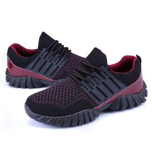 Breathable Color Block Athletic Shoes - BLACK RED 43