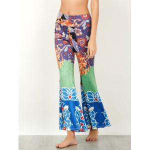 Baroque Print High Waisted Flared Pants