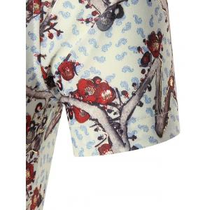 Plus Size Branch Print Shirt - RED 7XL