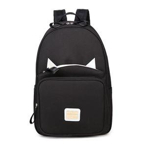Mesh Panel Cat Ear Backpack - Black - 2xl