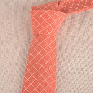 Cotton Blended Plaid Neck Tie -