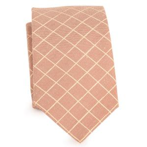 Cotton Blended Plaid Neck Tie - Light Khaki - One Size