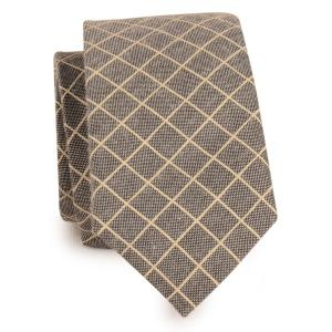 Cotton Blended Plaid Neck Tie - Gray
