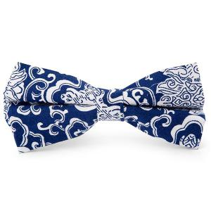 Flower Porcelain Printing Bow Tie - Blue - 2xl