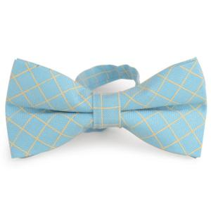 Cotton Blending Plaid Bow Tie - Azure - 3xl