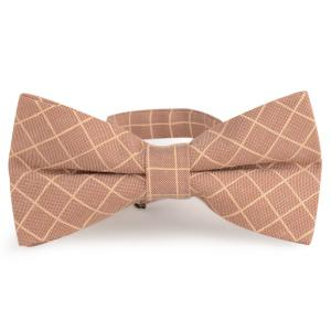 Cotton Blending Plaid Bow Tie - Light Khaki - One Size
