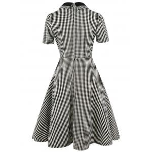 Vintage Bowknot Button Plaid Fit and Flare Dress -