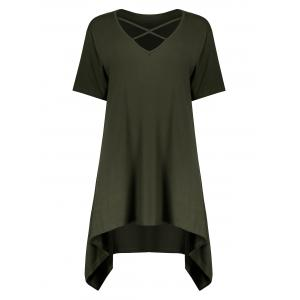 Plus Size Criss Cross Long Swing Cutout T-Shirt - Army Green - 3xl
