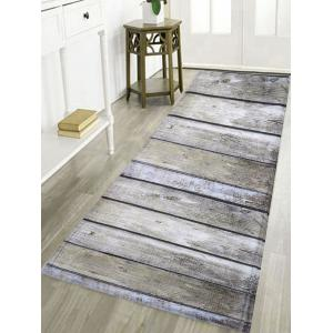 Antiskid Water Absorption Bathroom Rug with Wood Grain Print