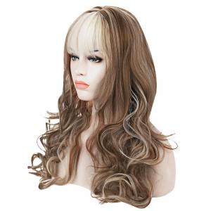 Western Style Kanekalon Side Bang Fluffy Mixed Color Long Deep Wavy Women's Synthetic Wig -