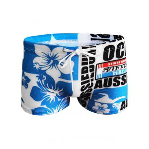 Stretch Graphic Swimming Trunks - BLUE L