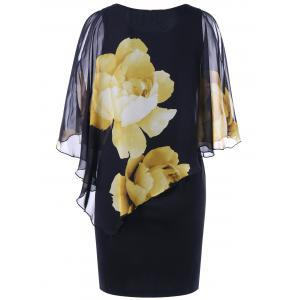 Tight Floral Slit Sleeve Capelet Dress - BLACK 2XL